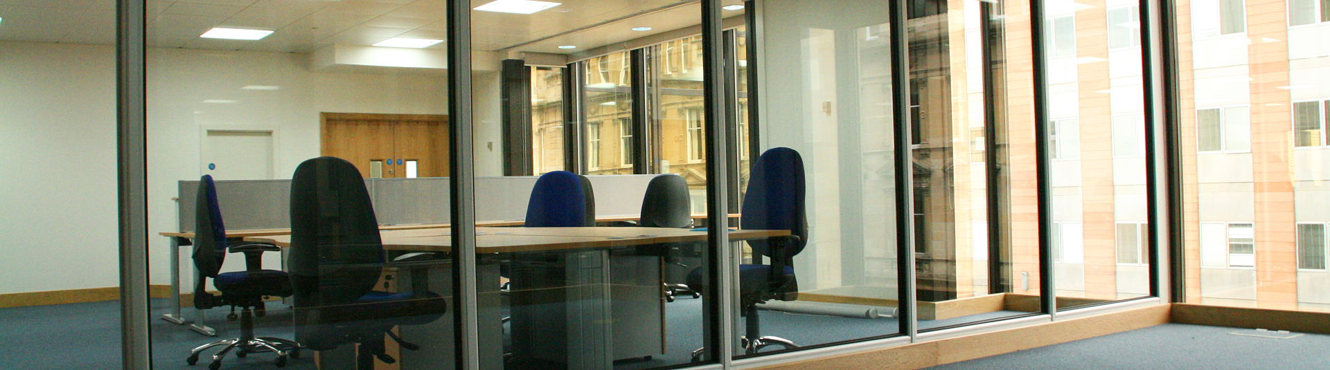 datum fitout office glazed partitioning glasgow